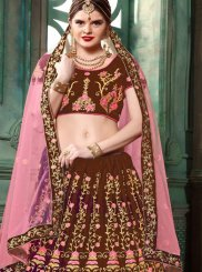 Art Silk Brown Lehenga Choli