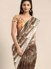 Art Silk Brown Weaving Designer Traditional Saree