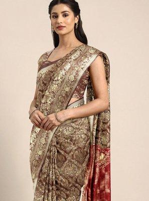 Art Silk Brown Weaving Traditional Saree
