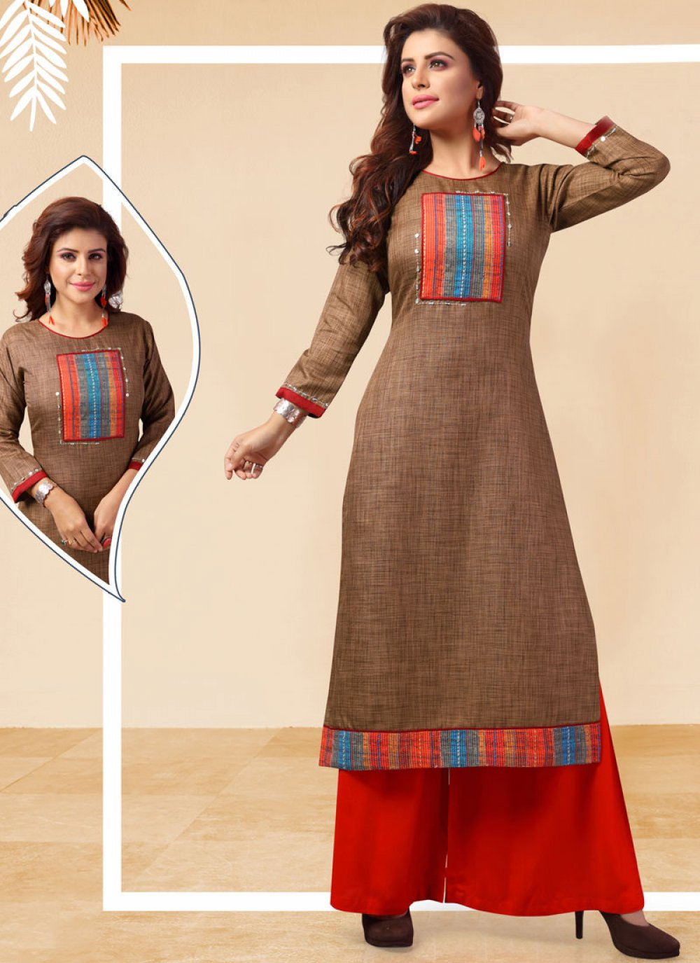 Art Silk Casual Kurti in Brown