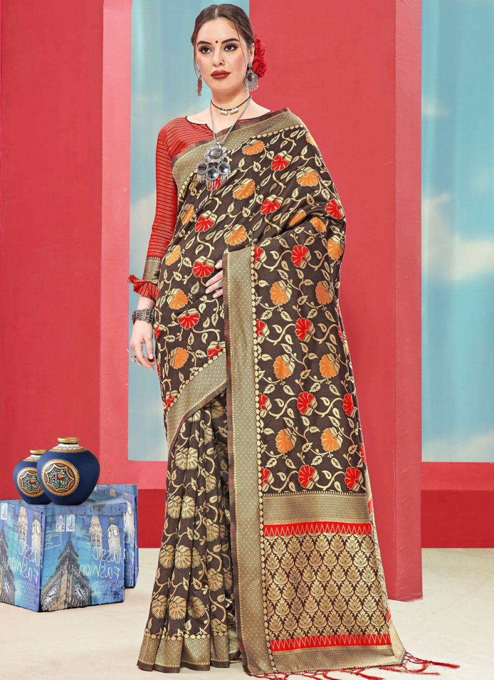 Art Silk Casual Saree in Brown