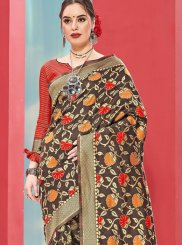 Art Silk Casual Saree in Brown