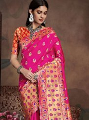 Art Silk Casual Saree in Pink