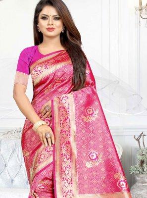 Art Silk Casual Saree in Pink