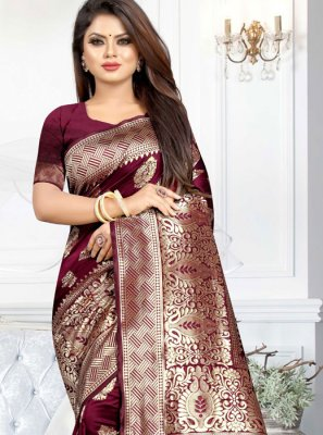Art Silk Casual Saree in Purple