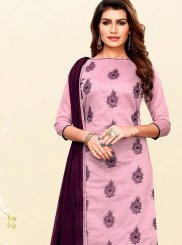 Art Silk Churidar Salwar Suit in Pink