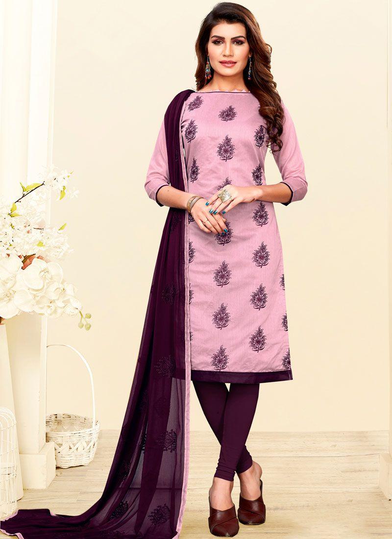 Art Silk Churidar Salwar Suit in Pink