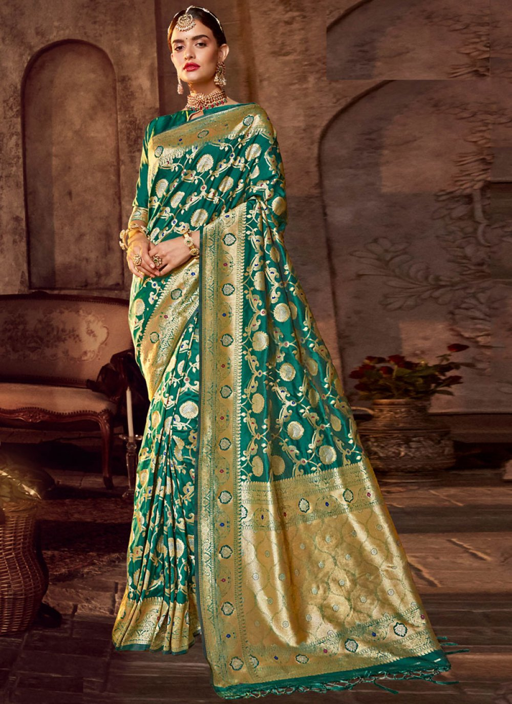 Art Silk Classic Designer Saree in Green