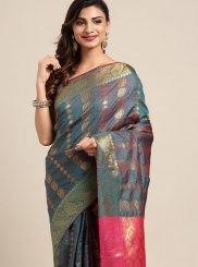 Art Silk Classic Designer Saree in Teal