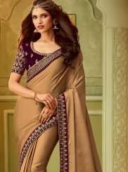 Art Silk Classic Saree in Brown