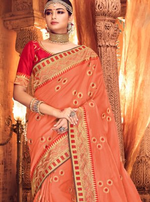 Art Silk Classic Saree in Peach