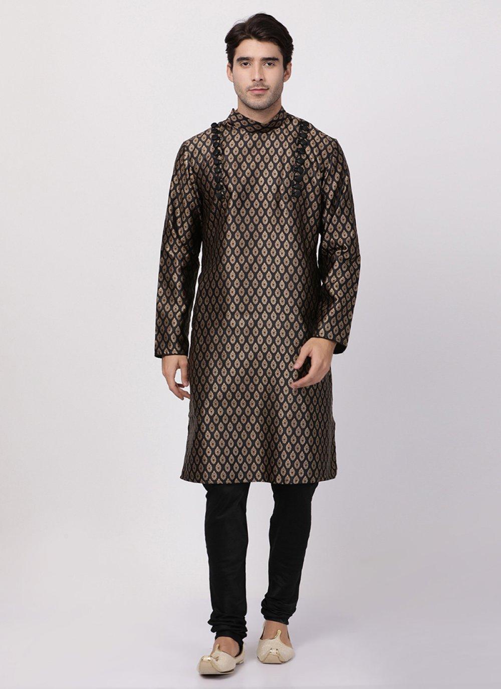 Art Silk Cotton Kurta Pyjama in Black
