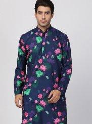 Art Silk Cotton Navy Blue Kurta Pyjama