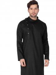 Art Silk Cotton Plain Black Kurta Pyjama