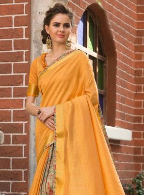 Art Silk Cotton Print Work Traditional  Saree