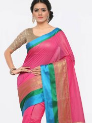 Art Silk Cotton Weaving Pink Trendy Saree