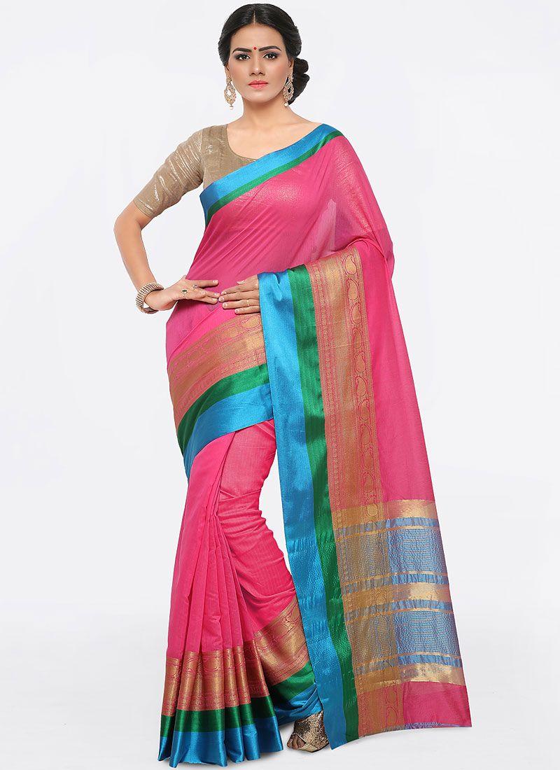 Art Silk Cotton Weaving Pink Trendy Saree