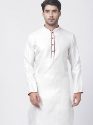 Art Silk Cotton White Kurta Pyjama