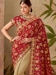 Art Silk Cream and Red Half N Half Designer Saree