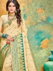 Art Silk Cream and Sea Green Weaving Traditional Designer Saree
