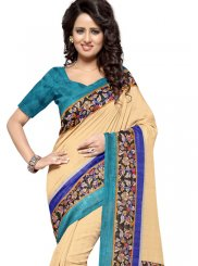 Art Silk Cream Printed Casual Saree