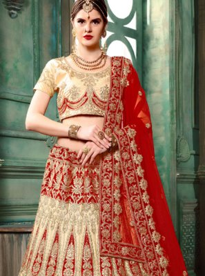 Art Silk Cream Resham Lehenga Choli