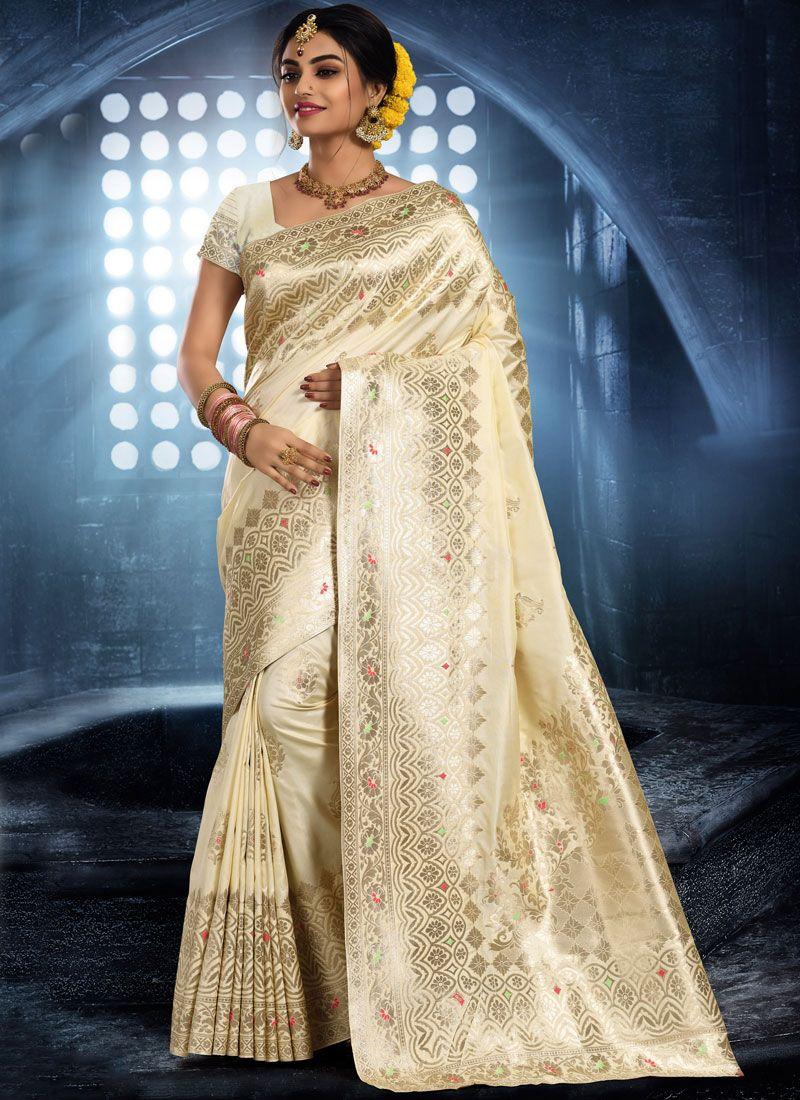 Art Silk Cream Woven Classic Saree