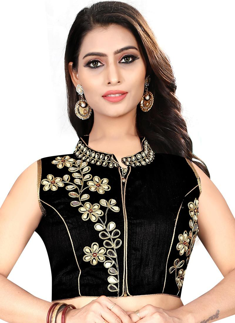 70e28ac0e Art Silk Designer Blouse in Black buy online -