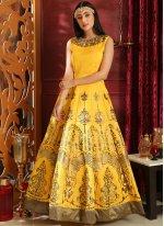 Art Silk Designer Gown in Yellow
