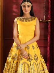 Art Silk Designer Gown in Yellow
