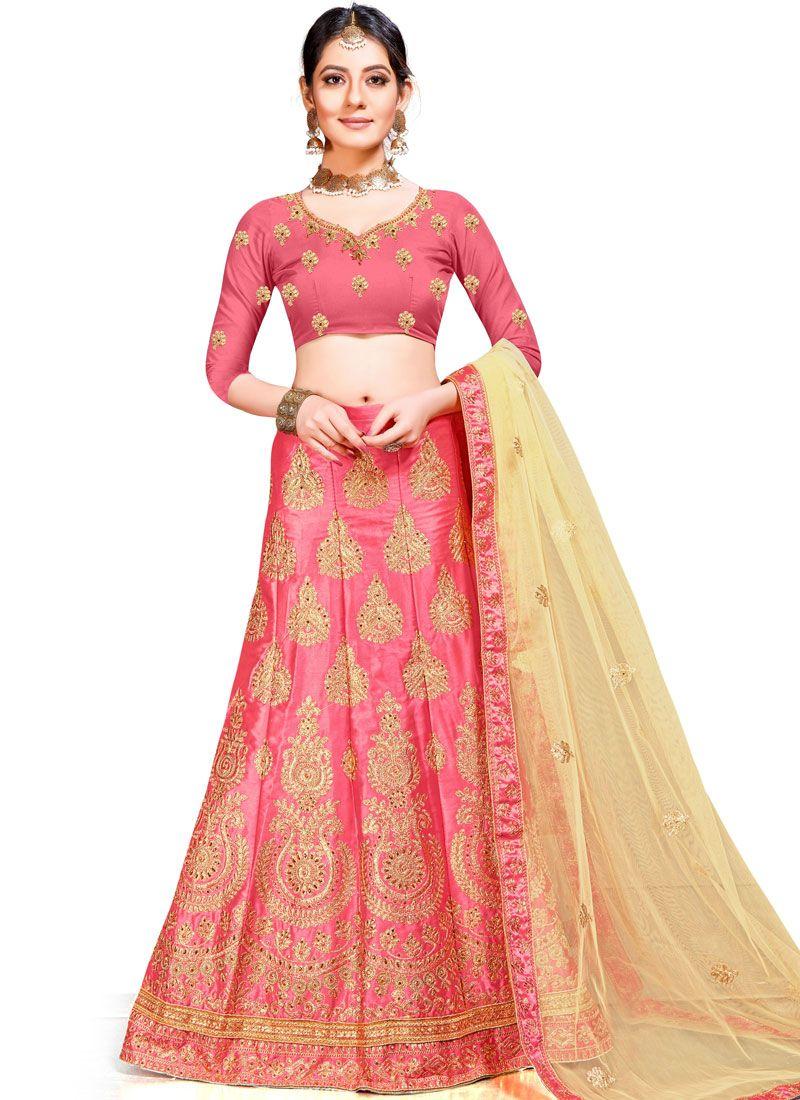 Art Silk Designer Lehenga Choli in Pink