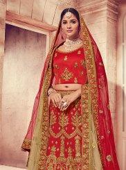 Art Silk Designer Lehenga Choli in Red