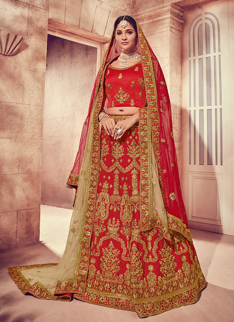 5a414e1561 Shop Art Silk Designer Lehenga Choli in Red Online : 104198 -