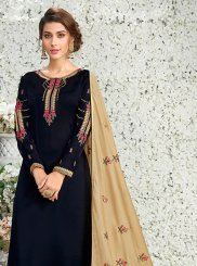 Art Silk Designer Pakistani Suit in Black