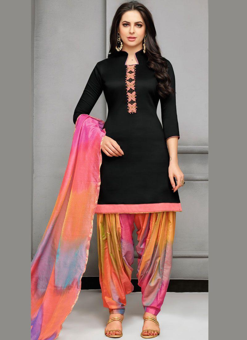 Art Silk Designer Patiala Suit