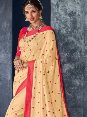 Art Silk Designer Saree in Cream