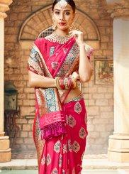 Art Silk Designer Saree in Rose Pink