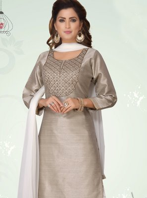 Art Silk Designer Suit in Grey