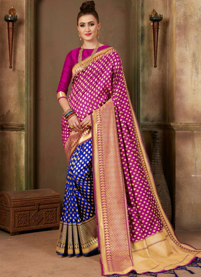 Art Silk Designer Traditional Saree in Blue and Hot Pink