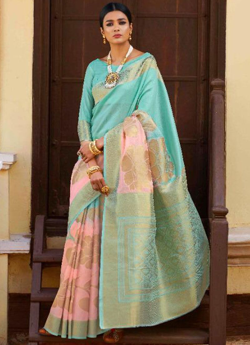 Art Silk Designer Traditional Saree in Blue and Pink