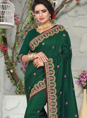 Art Silk Designer Traditional Saree in Green