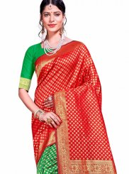 Art Silk Designer Traditional Saree in Green and Red