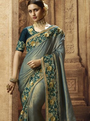 Art Silk Designer Traditional Saree in Grey