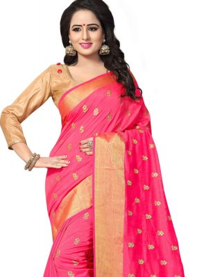 Art Silk Designer Traditional Saree in Hot Pink