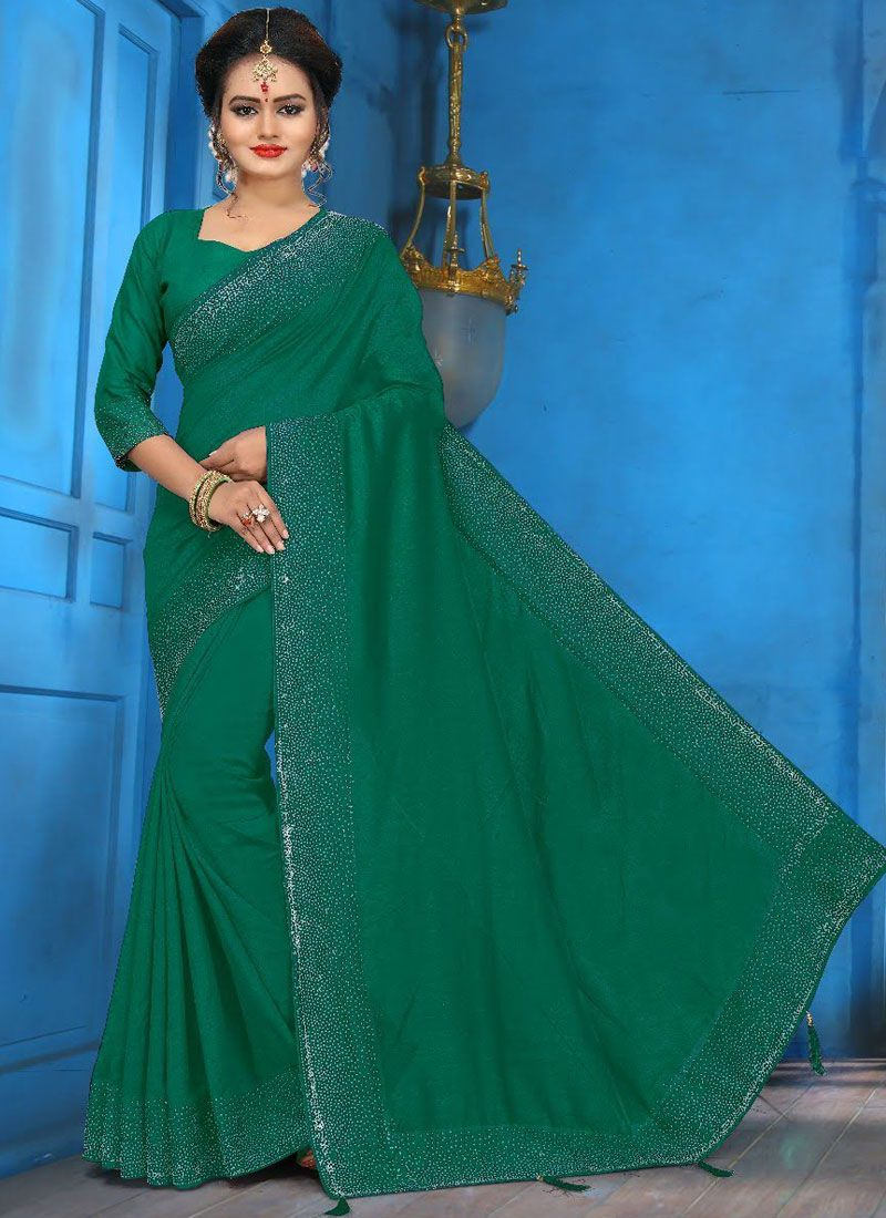 Art Silk Diamond Traditional Saree in Green