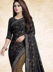 Art Silk Digital Print Black Trendy Saree