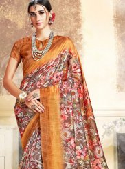 Art Silk Digital Print Classic Saree in Mustard