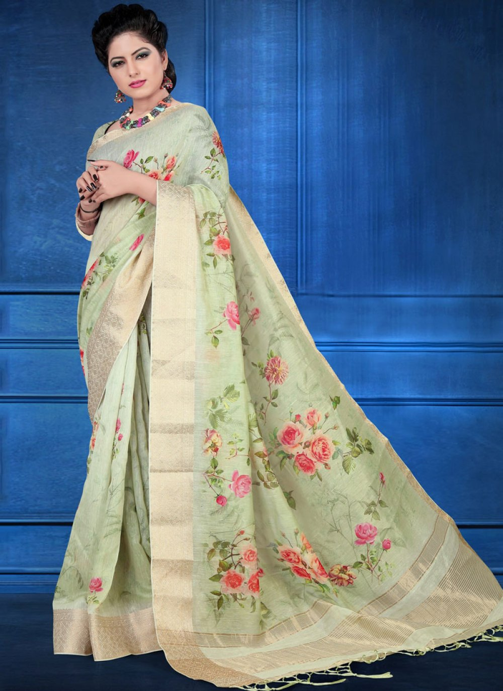Art Silk Digital Print Printed Saree in Green