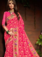 Art Silk Dori Work Pink Classic Saree