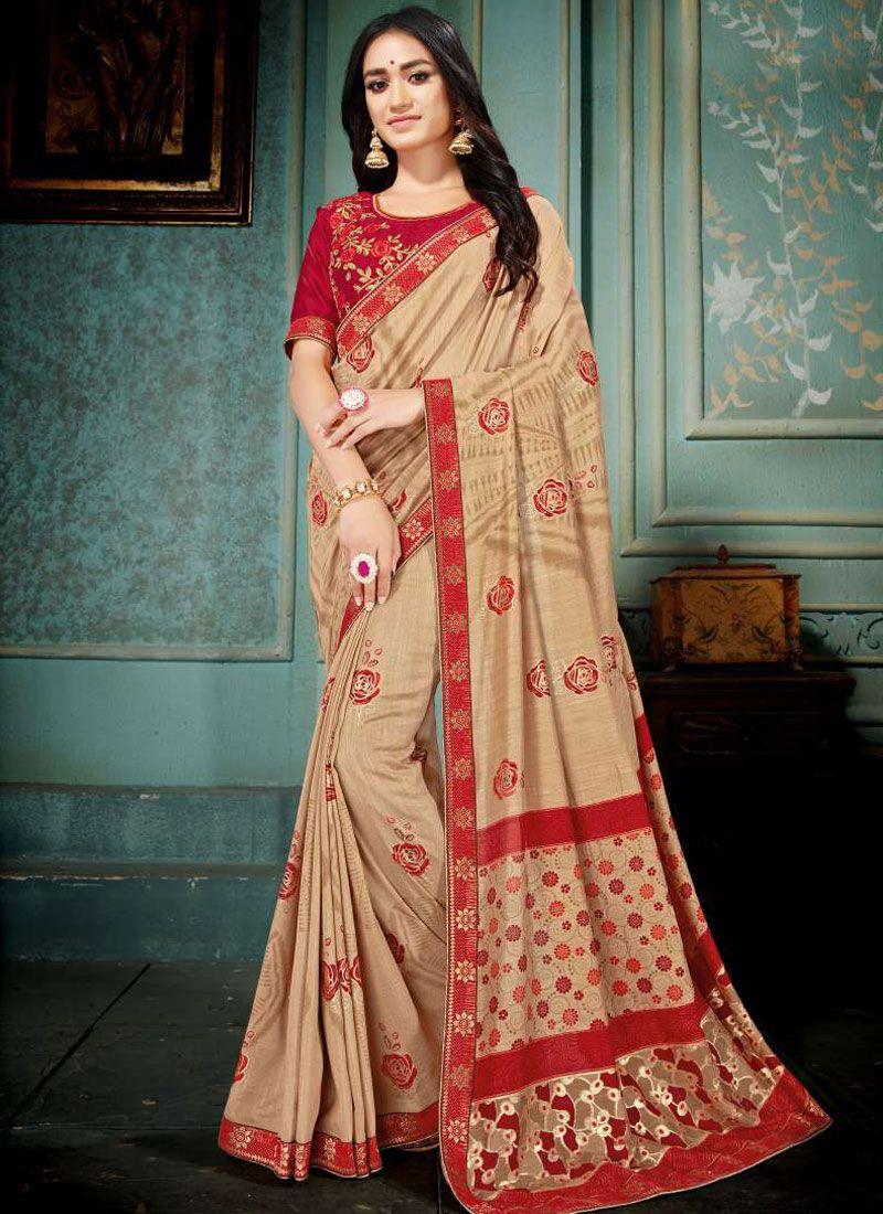 Art Silk Embroidered Beige Designer Traditional Saree